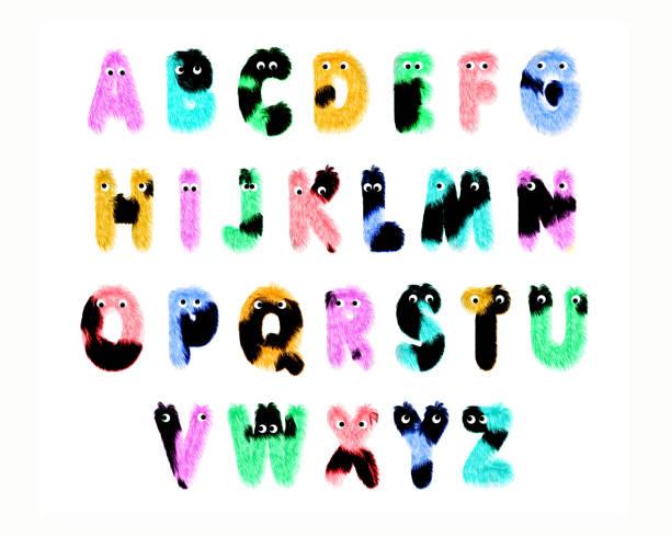 Bunte Pelzfiguren alphabet, isoliert auf weißem Hintergrund – Foto