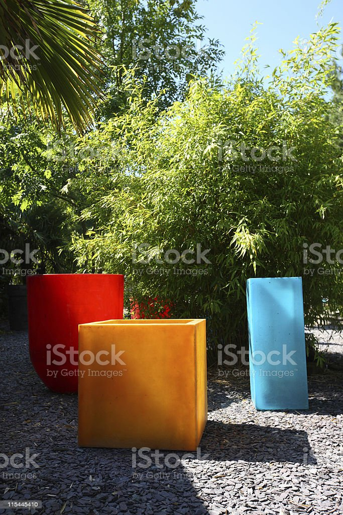 Colorful Garden Pots royalty-free stock photo