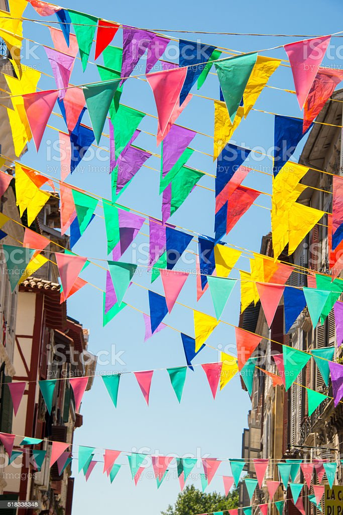 Colorful garlands decorating the streets of the city of Bayonne stock photo