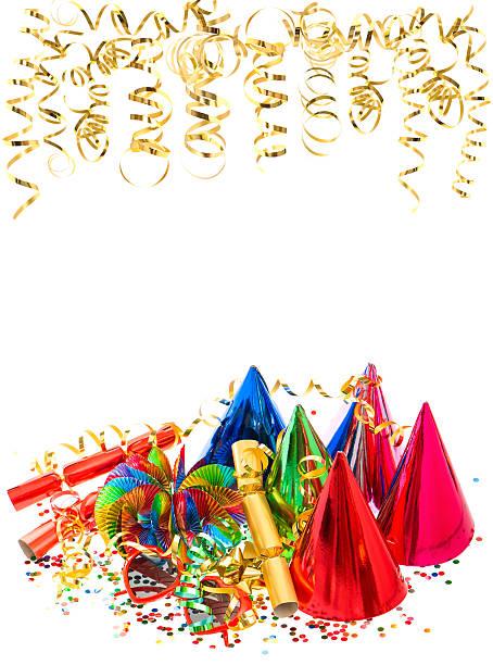 bunte girlanden, golden serpentine und konfetti - geburtstagswünsche mit bild stock-fotos und bilder