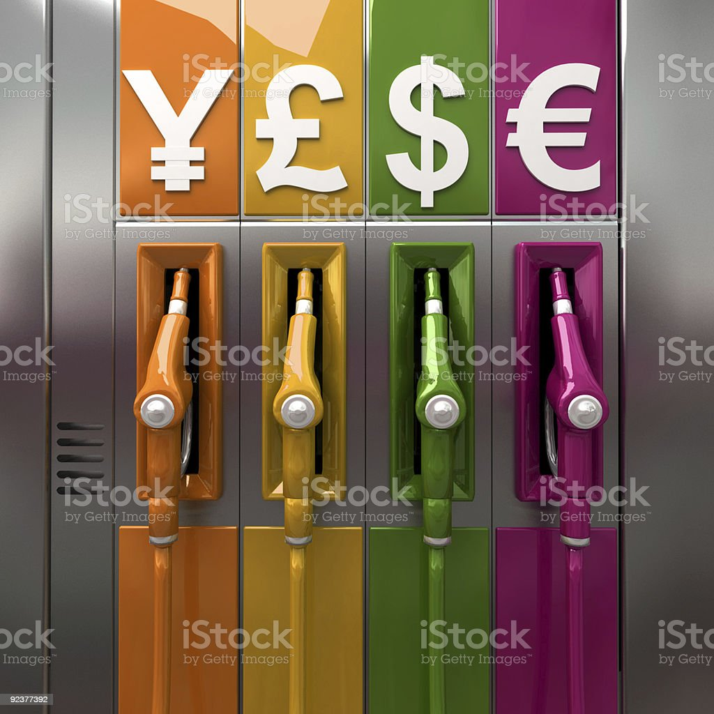 Colorful gas pumps with different countries sign for money royalty-free stock photo