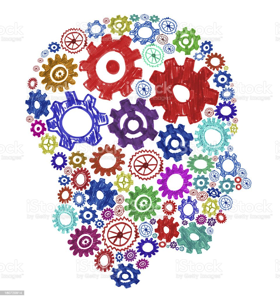Colorful gears forming a human head royalty-free stock photo