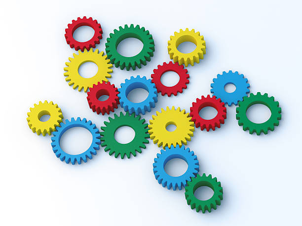 """Colorful Gears """"3D Render of 16 colorful gears on a white background, randomly sorted. Very high resolution available!Related images:"""" blue 3d business NOT map NOT background stock pictures, royalty-free photos & images"""