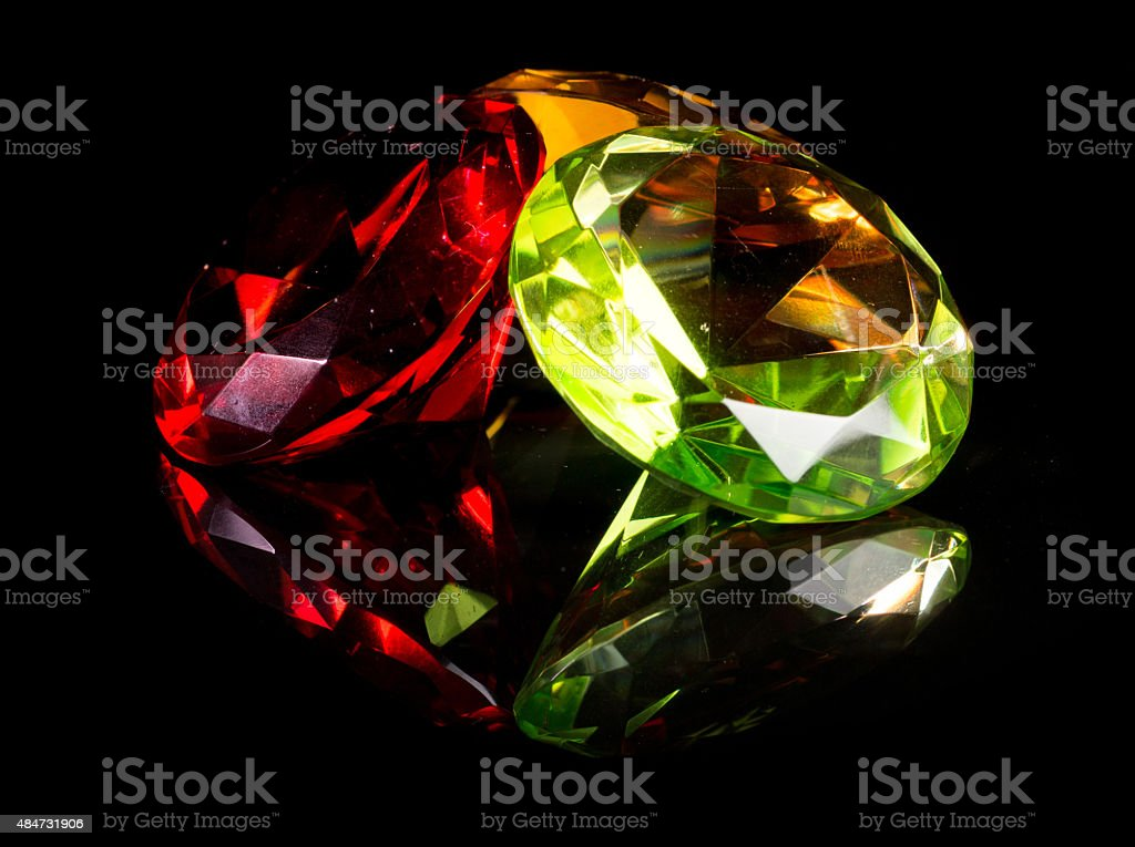 Colorful Gemstones Isolated on Black stock photo