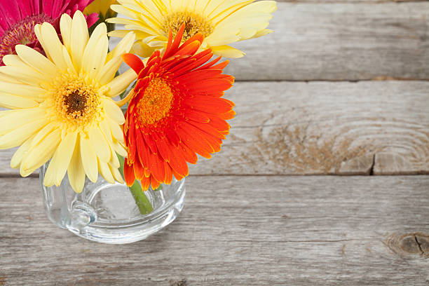 Colorato fiori di gerbera sul tavolo di legno - foto stock