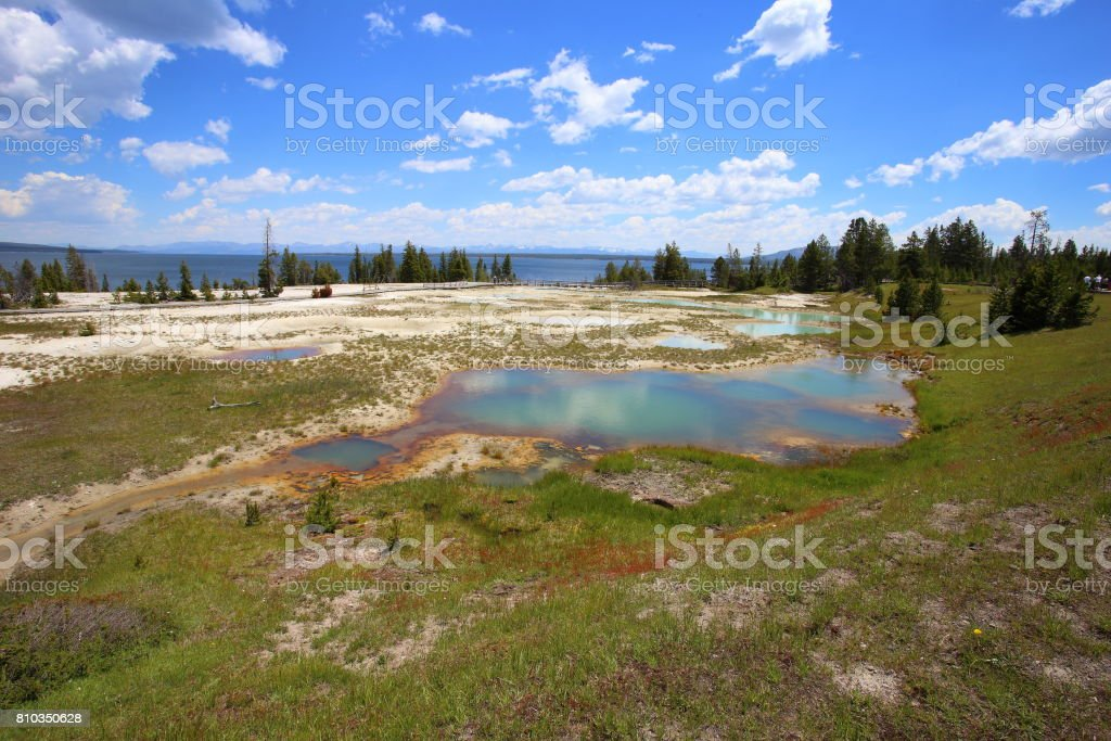 colorful geyser stock photo