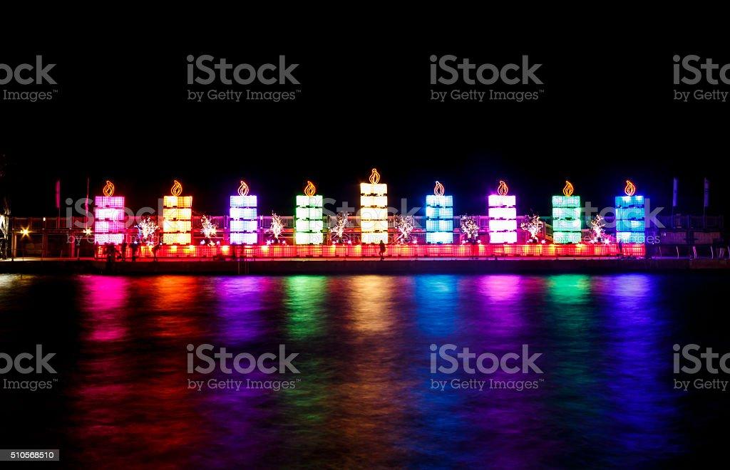 colorful Giant Menorah. Hanukkah in Tel Aviv Port stock photo