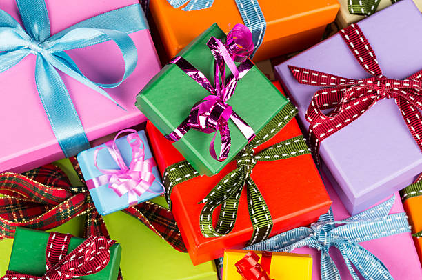 colorful gift boxes - birthday gift stock photos and pictures