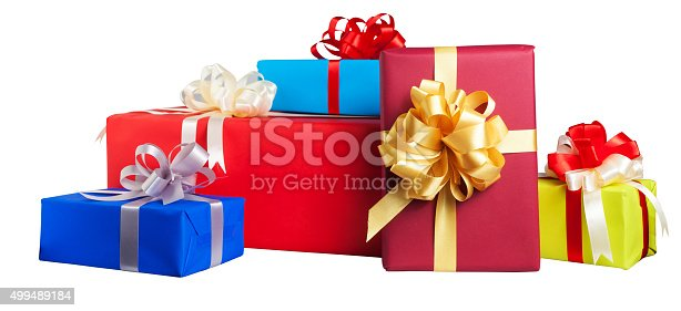 istock Colorful gift wrapped boxes isolated on white background 499489184