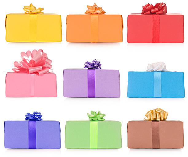 bunte giftboxes - foto collage geschenk stock-fotos und bilder