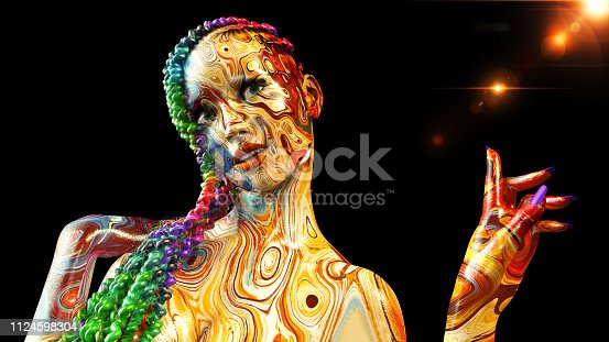Colorful girl with braids, woman with face covered in colors and braided hair style on colored background, 3D rendering
