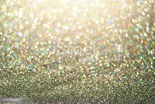 881350776 istock photo Colorful glitter background with lights, bokeh. Shiny festive greeting card. New year and Christmas concept. Sparkling texture 1147544521