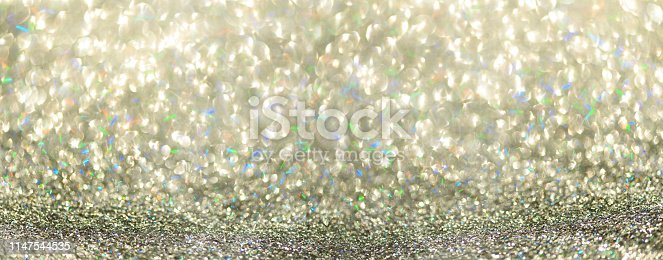 881350776 istock photo Colorful glitter banner with lights, bokeh. Shiny festive greeting card. New year and Christmas concept. Sparkling textured background 1147544535