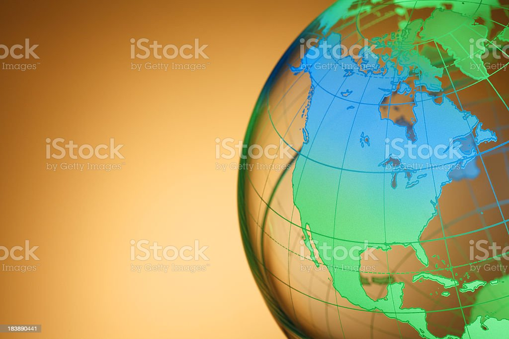 Colorful globe rotated to show North America royalty-free stock photo