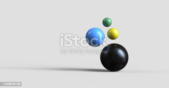 colorful glossy spheres flying cut out