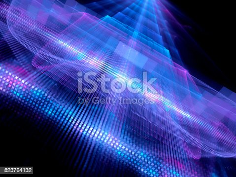 Colorful glowing big data fractal concept, square tiles, computer generated abstract background, 3D rendering
