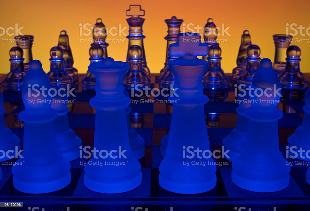 Colorful Glowing Chess Match. royalty-free stock photo