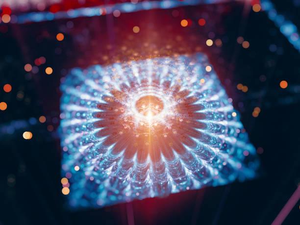 bunt leuchtende futuristische quantum prozessor - quant stock-fotos und bilder