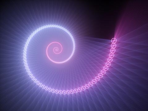 Colorful Glowing Spiral Fractal 照片檔及更多 不規則碎片形 照片
