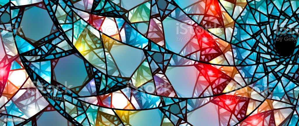 Colorful glowing stained glass stock photo