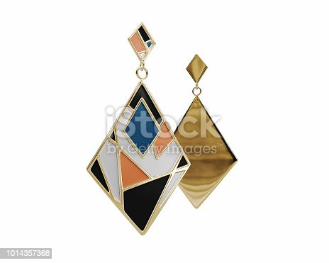 Colorful Gold Enamel Earrings isolated on a White Background