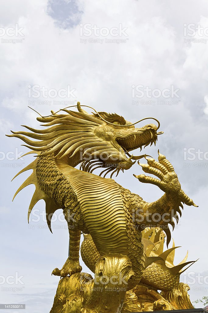 Colorful golden dragon statue in Chinese temple Thailand royalty-free stock photo
