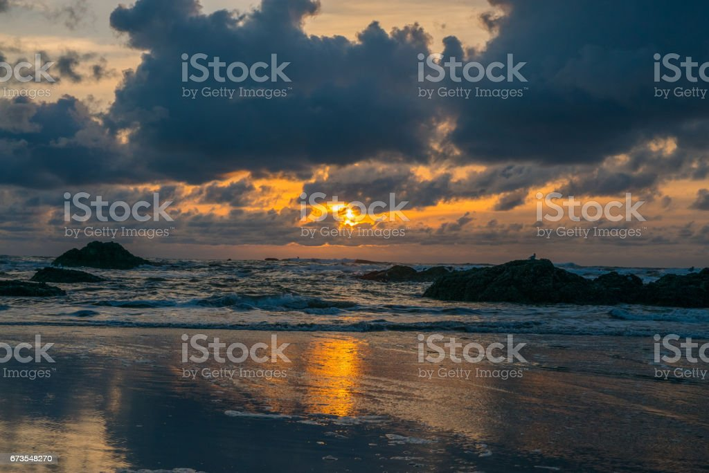 Colorful golden sunset over the sea. Amazing sunset at Ruby Beach royalty-free stock photo