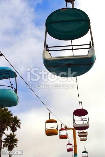 View of the colorful gondola ride at the Santa Cruz Beach Boardwalk.