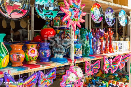 These are some of the goods and crafts available for sale at a marketplace in Cabo San Lucas, Mexico.  The market was close to the marina hoping to lure in tourists for a purchase.