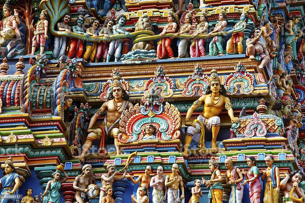 Colorful Gopuram tower of Hindu temple stock photo