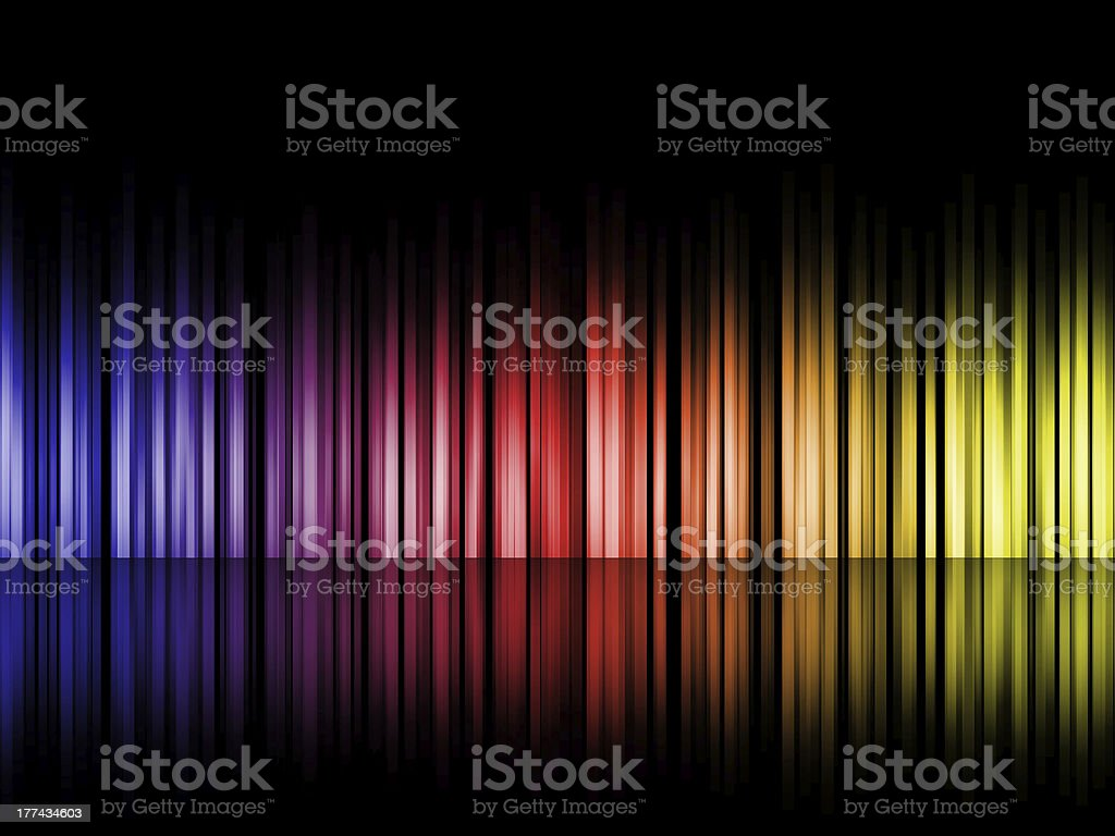Colorful gradient bars on reflective floor stock photo