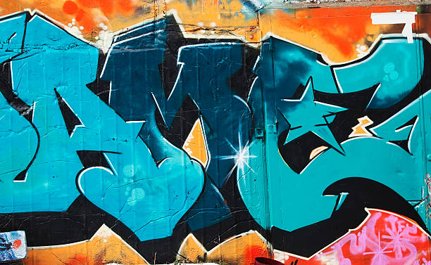 Colorful graffiti on a concrete wall. Graffiti.  Oslo, Norway.Lightbox: street art stock pictures, royalty-free photos & images