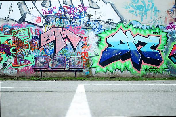Colorful graffiti wall stock photo