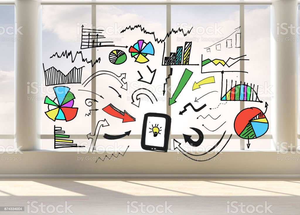 Colorful graphic in bright room stock photo