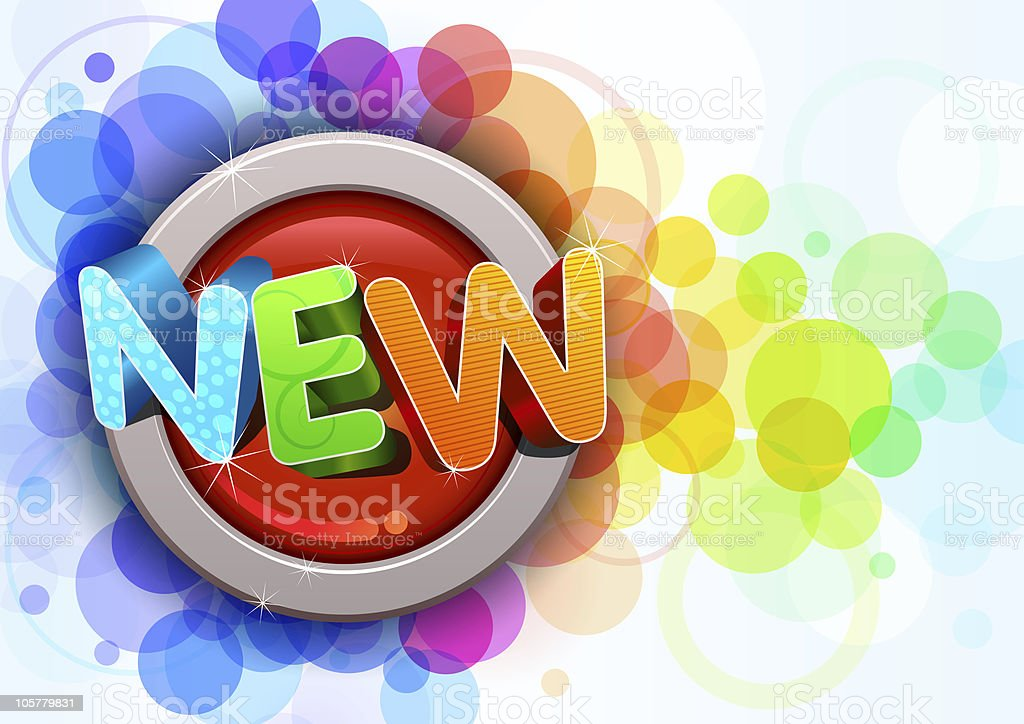 Colorful graphic of the word NEW and colored bubbles stock photo