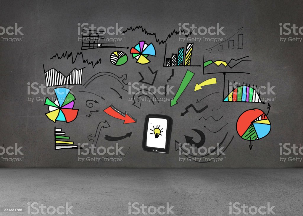 Colorful graphic on dark wall stock photo
