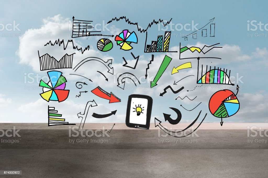Colorful graphic over balcony and sky stock photo