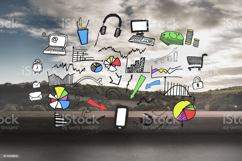 Colorful graphic over landscape background stock photo