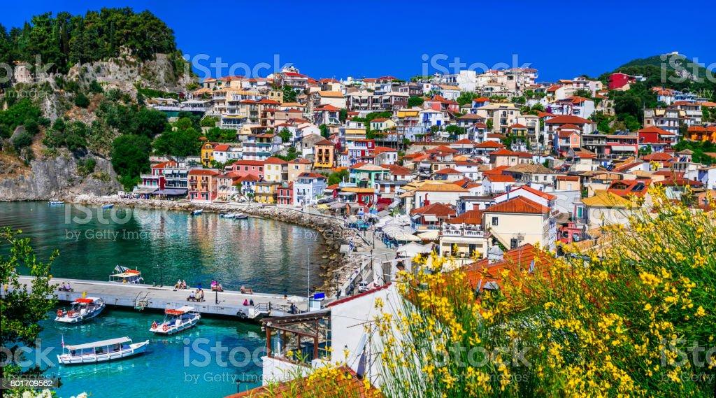 Colorful Greece series - beautiful coastal town Parga stock photo