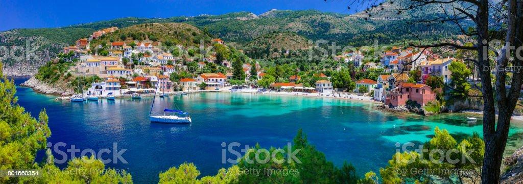 colorful Greece series - colorful Assos with beautiful bay. Kefalonia island stock photo