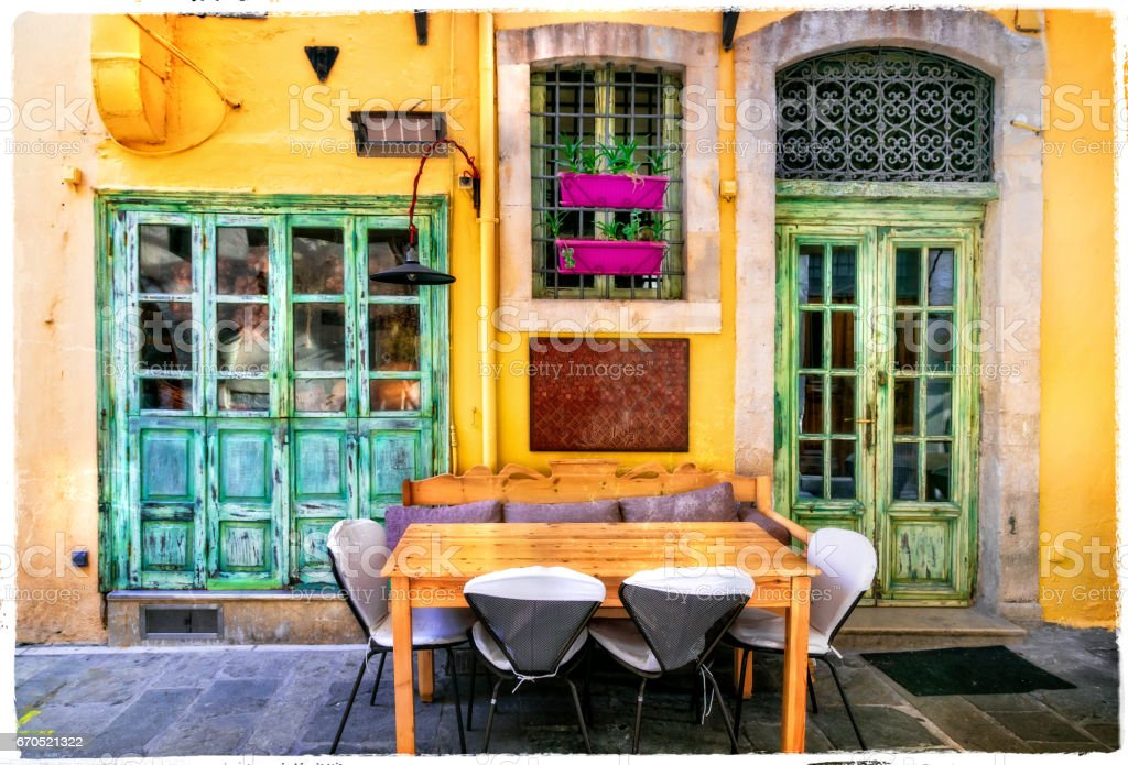 Colorful Greece series - small street restaurants in old town of Rethymno stock photo