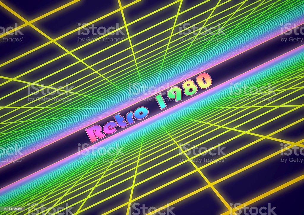 Colorful grid background with text 'Retro 1980' - foto de acervo