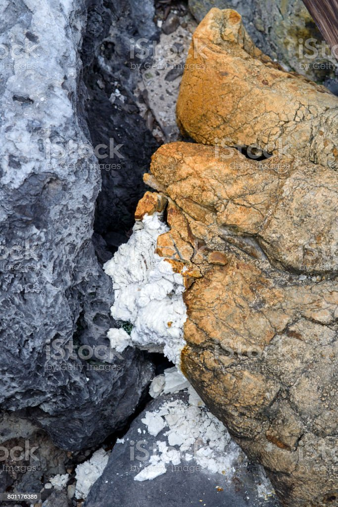 Colorful ground and sulfur deposits stock photo