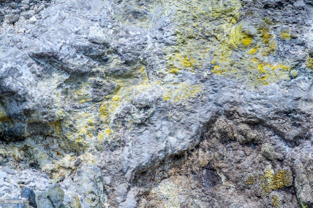 Colorful ground with creek in the volcanic desert stock photo