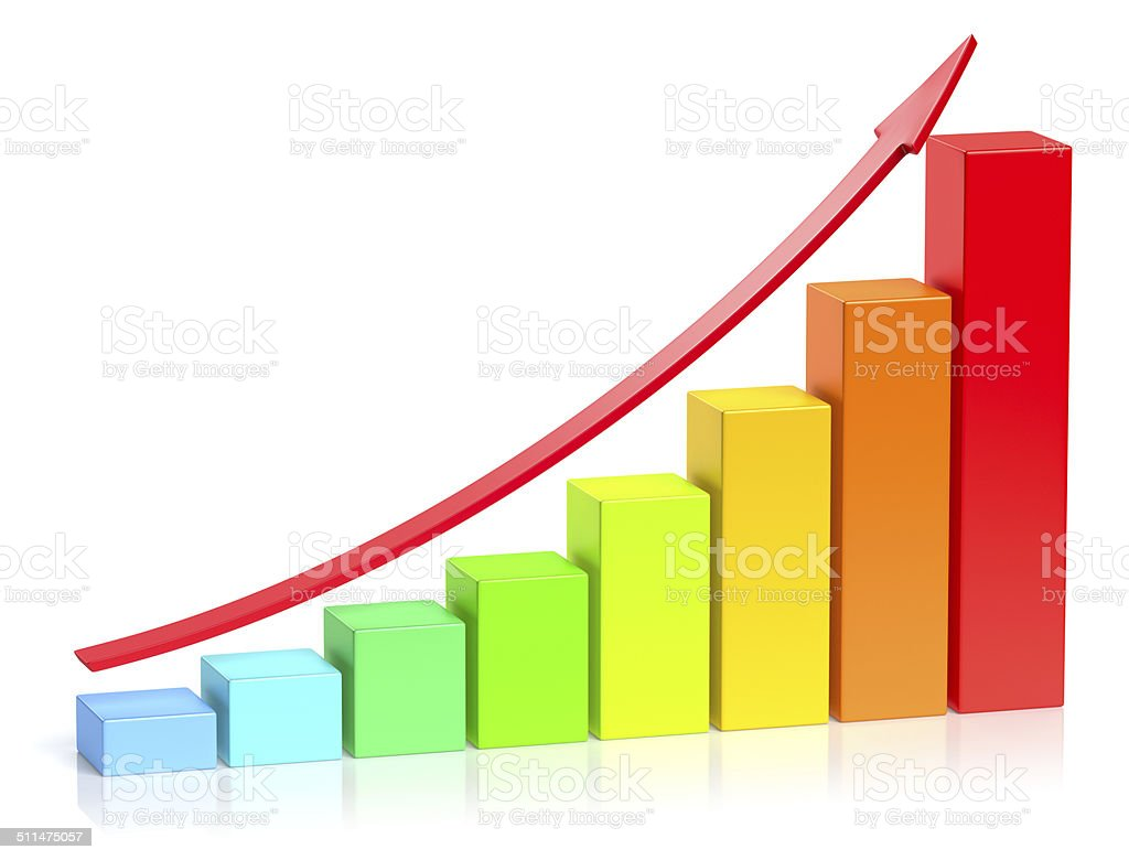 Colorful growing bar chart business success concept stock photo