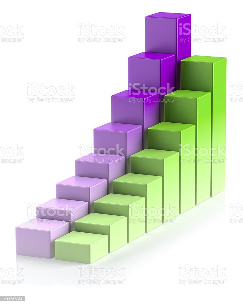 Colorful growing bar chart in two rows business concept stock photo