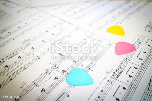 478117515 istock photo colorful guitar picks on music sheet 478131595