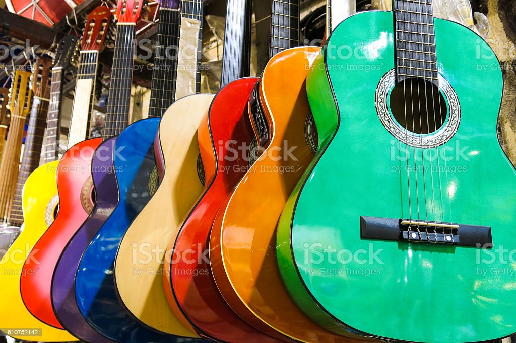 colorful guitars on the Istanbul Grand Bazaar. stock photo