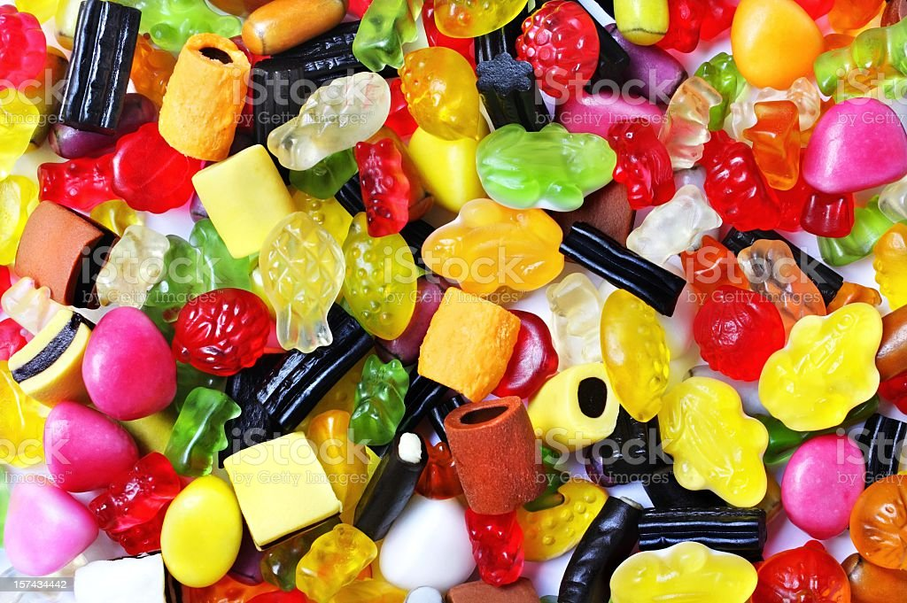 colorful gummibears sweets licorice background stock photo