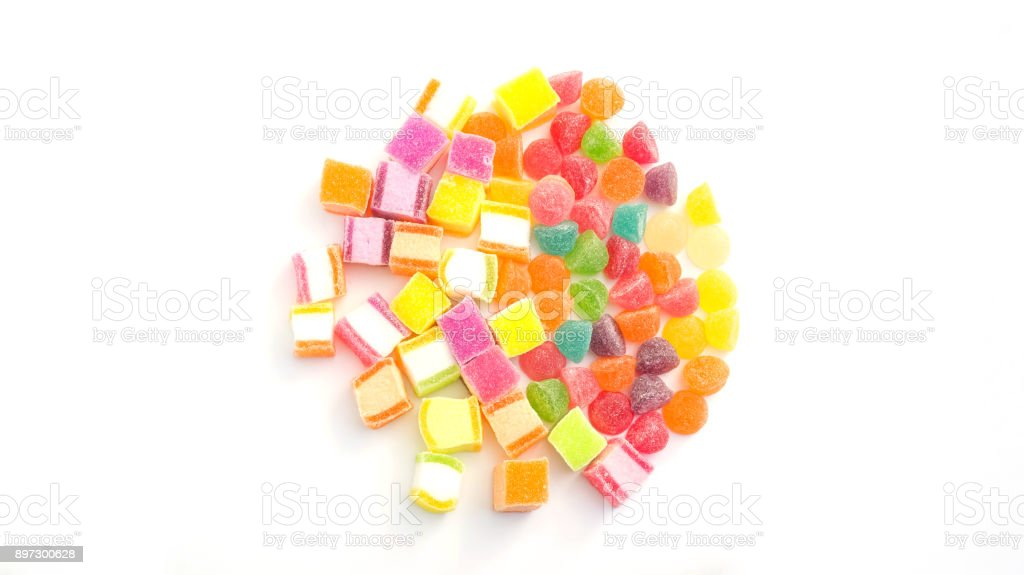 Colorful gummy candy on a white background. stock photo